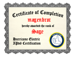 Hurricane Electric IPv6 Certification